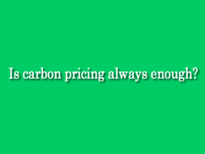 BLOG: Is carbon pricing always enough? by Judy O'Leary